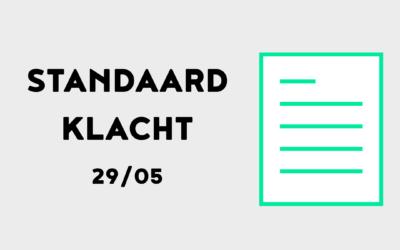 Standaardklacht – 29 mei 2021